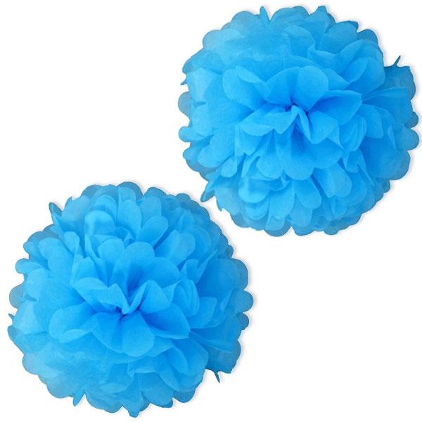 Pompoms in Hellblau aus Papier, blaue Pompoms als Hängedeko, 2 Stk