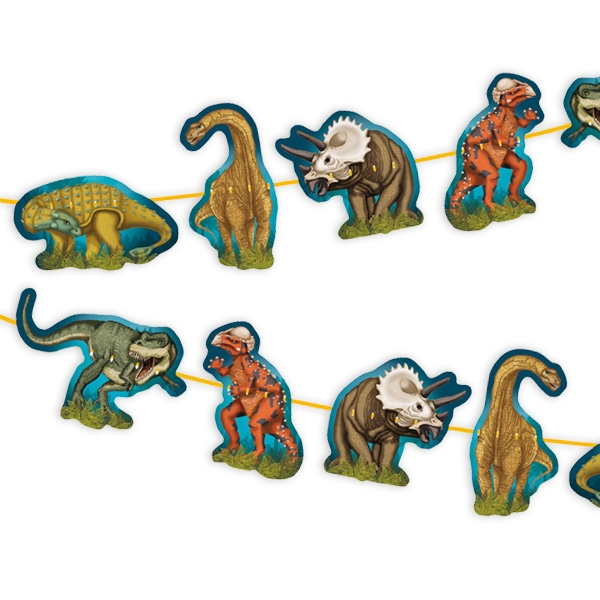 Dinosaurier Girlande, 1 Stück, Pappe