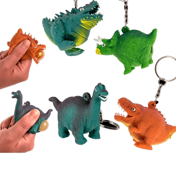 Großpack Squeeze Dinos, 24 Stk, Schlüsselanhänger
