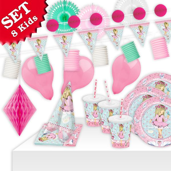 Ballerina Partyset XL,8 Kids,72 tlg. Dekoset mit kleiner Balletttänzerin