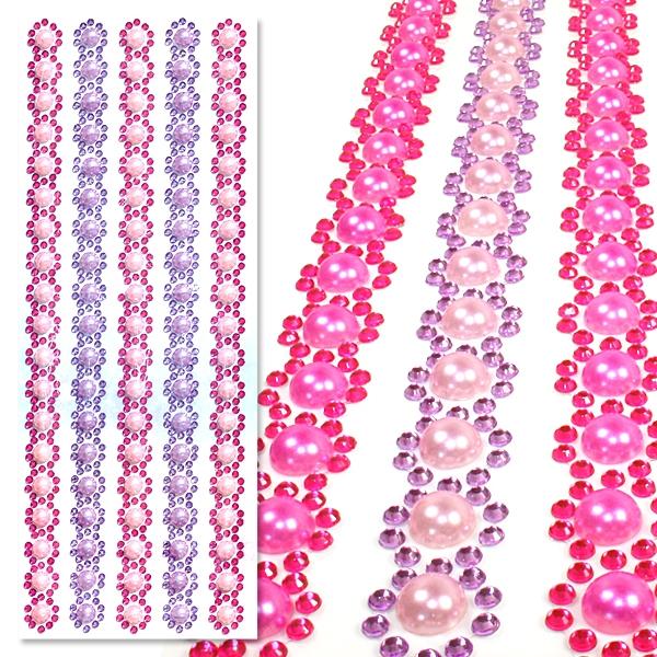 Schmuckstein Bordüren Pink-Lila, Perlensticker Glitzersteinchen