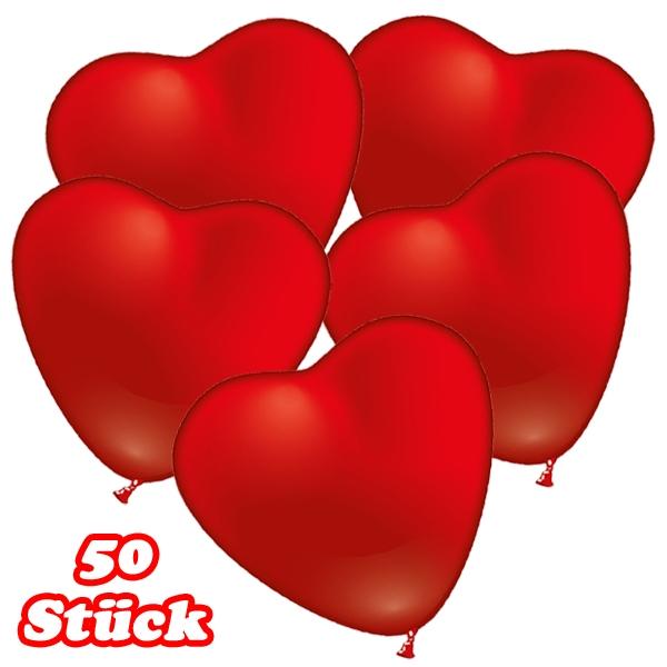 Herzluftballons in Rot, für Helium geeignet, 50 Herz Ballons, 50cm