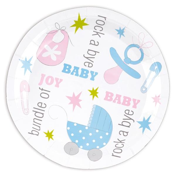 """""""Tiny Feet"""" Babyparty, Partyteller 8er Pack, 22,5cm"""