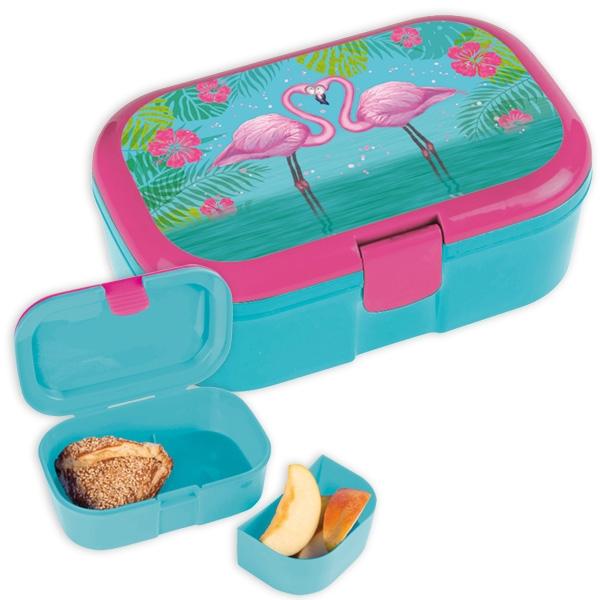 1 Flamingo Brotbüchse mit Fach, Frühstücksdose Kindergarten/Schule