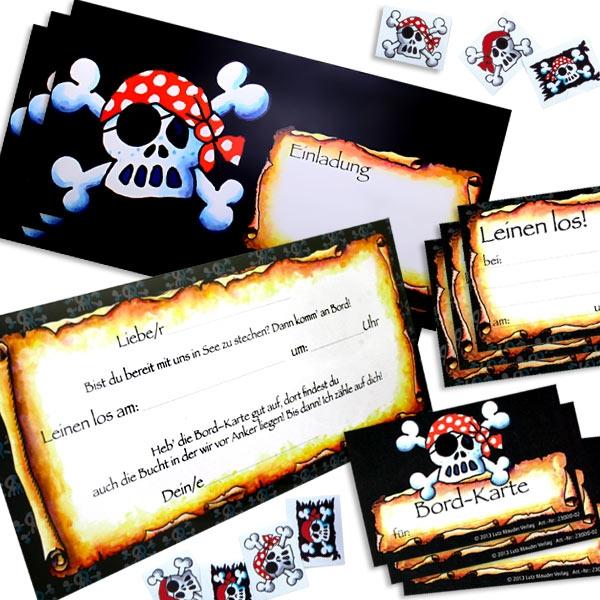 Einladungskarten-Set Pirat 24 -tlg. inkl. cooler Tattoos & VIP-Karten
