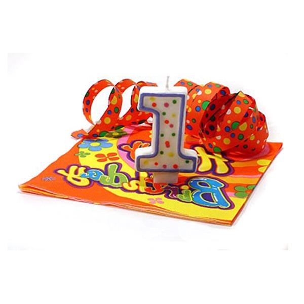 Tortenkerze Zahl 1, hübsche Geburtstagskerze im Konfetti-Look
