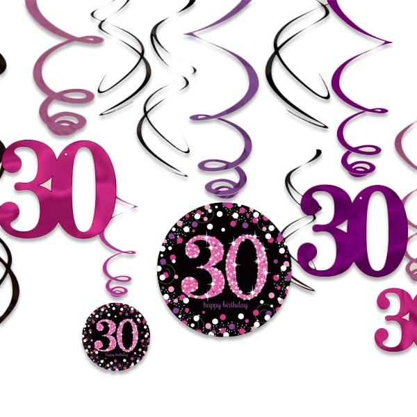 Sparkling Celebr. Pink Deko-Spiralen, 12er Set, 30. Geburtstag