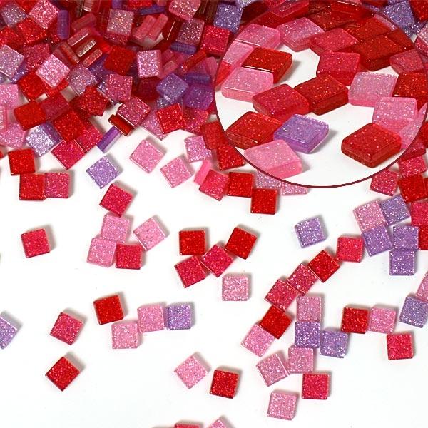 Mosaiksteine, 700 Stück, 5x5mm GLITTER MIX - pink, für Bilderrahmen, Basteln und mehr