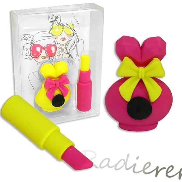 Radiergummi-Set Girlie im 2er Pack mit Lippenstift-Radierer für Mädchen