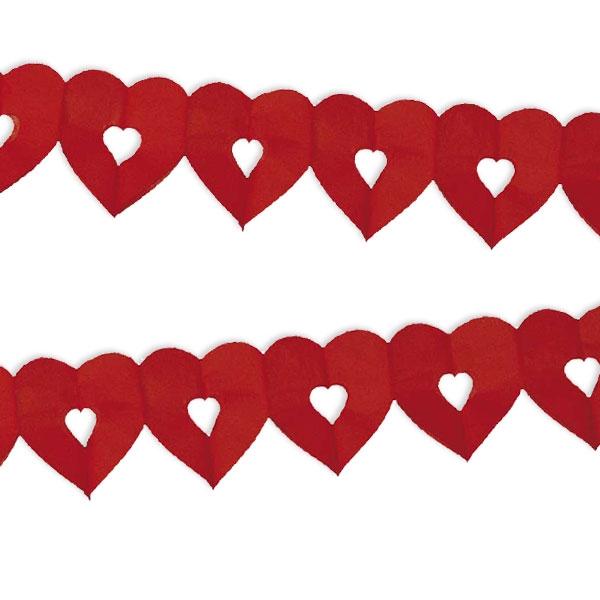 Herzgirlande in Rot, Papiergirlande aus roten Herzen, 6m, 1 Stück