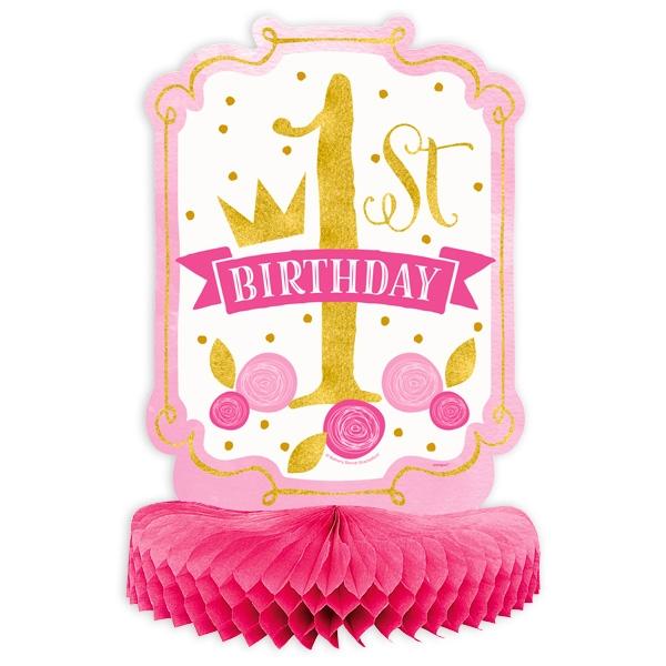 """""""1st Birthday"""", Waben-Tischdeko  in pink & gold,  35cm x 23cm"""
