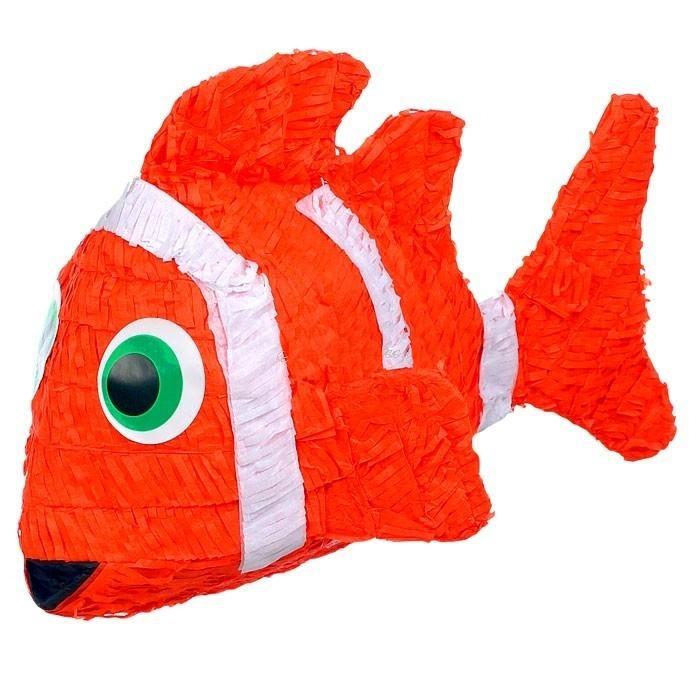 Geburtstagspinata Clownfisch in Orange 53x22x30cm, Pinata zum Schlagen