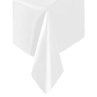 Tischdecke weiß, 137×274cm, einfarbige Partytischdecke aus Folie
