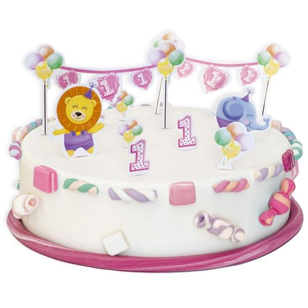 1. Geburtstag Mädchen  -Tortendeko-Set, 10-teilig