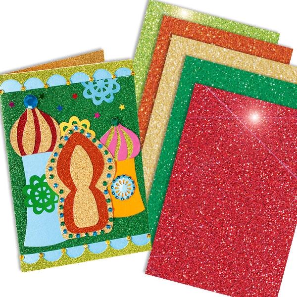 Glitzerkarton ORIENTAL, 5 Blatt in verschiedenen Farben, je 24cm x 34cm, zum Basteln