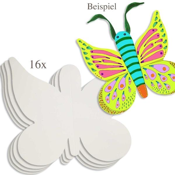 Klapp-Schmetterlinge in weiß, 16er Pack, zum Bemalen und Gestalten, 23cm x 25cm