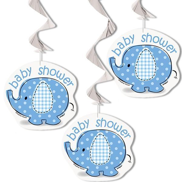 Dekospiralen blauer Elefant 3 Stück, Indoor-Deko für Babyparty Junge