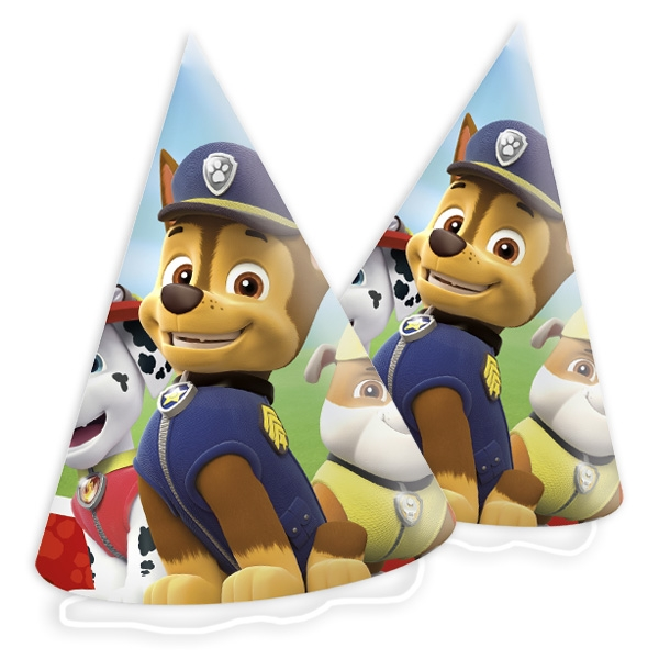 Paw Patrol Partyhütchen im 6er Pck, Papphüte zum Geburtstag