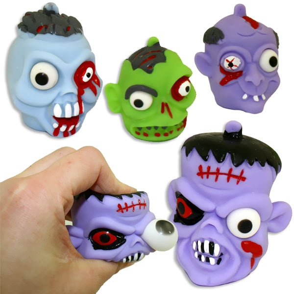 Zombie-Quetschball 5×6cm, 1 Stück, witziger Zombiekopf aus Gummi