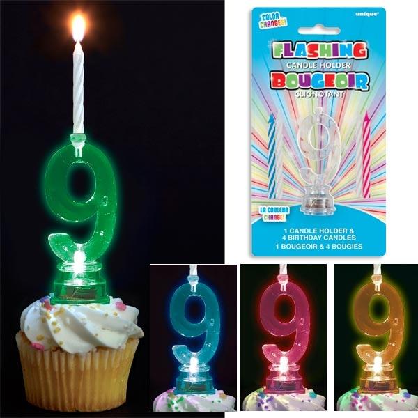 Kerzenständer in Form einer 9 für Fooddeko + 4 Kerzen