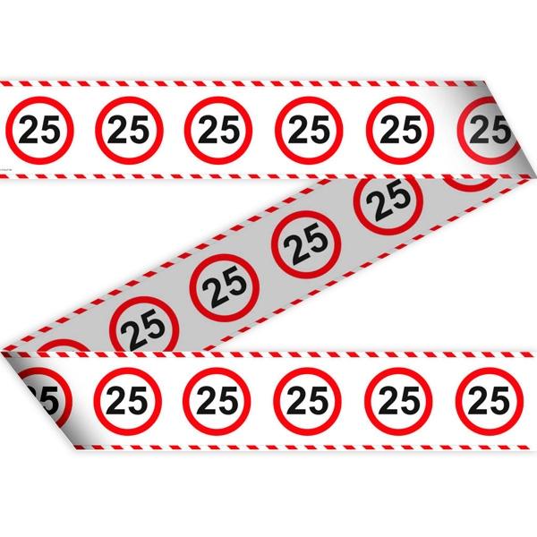 "Absperrband ""Verkehrsschild"" zum 25. Geburtstag, 15 Meter lang"