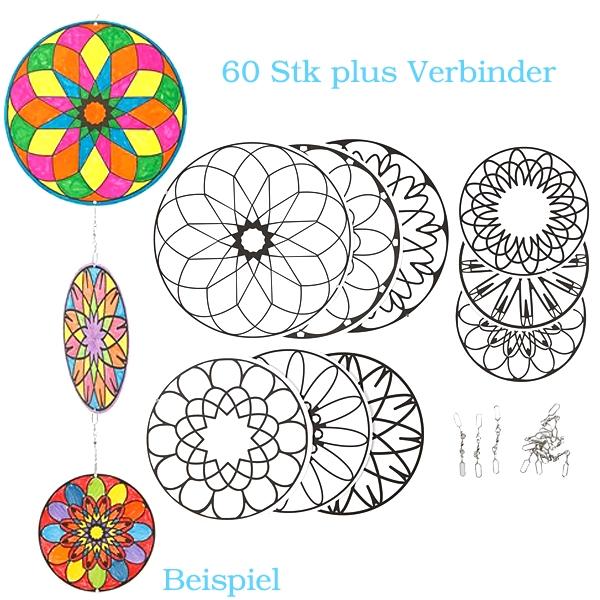 Großpackung Mandalas, 60 Mandalas, 60 Verbinder, für Mobiles