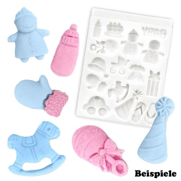 Silikonform Babymotive, Baby-Fondantform / Eiswürfelform, 1 Stück