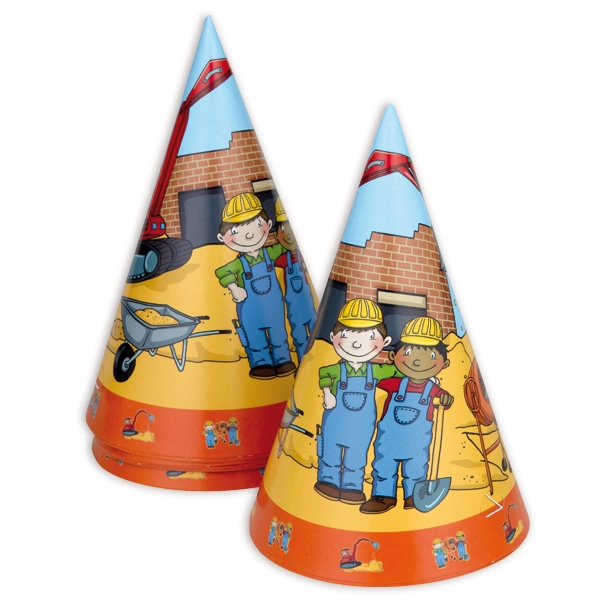 Baustelle Partyhütchen 8er Pack, Bauarbeiter-Motiv, Pappe, mit Gummi