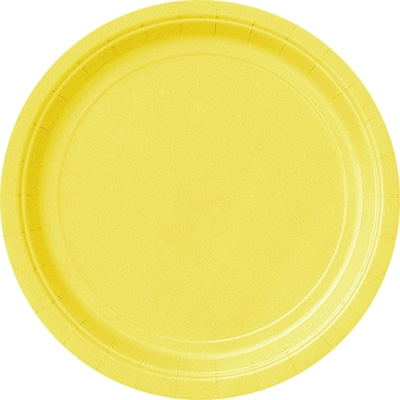 Gelbe Partyteller, 8er Pack, 23cm, hübsche Einwegteller aus Pappe