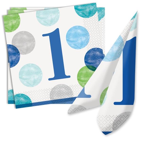 BLUE DOTS Servietten zum 1. Geburtstag, 16 Stk, 33cm x 33cm