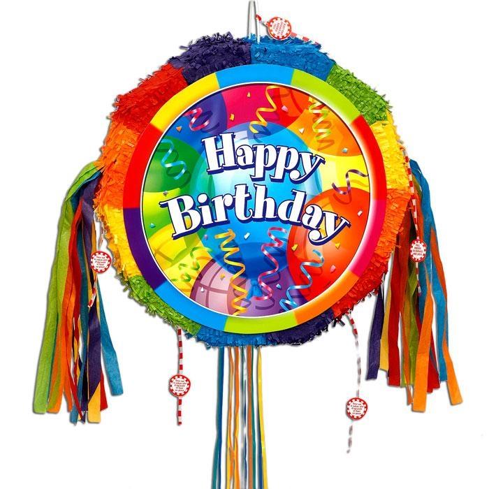 Zugpinata f. Ballonparty HAPPY BIRTHDAY für tolles Pinataspiel, 46 cm
