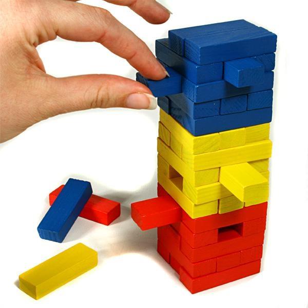Wackelturm aus Holz, beliebtes Holzspielzeug für Kinder, 45 -tlg.