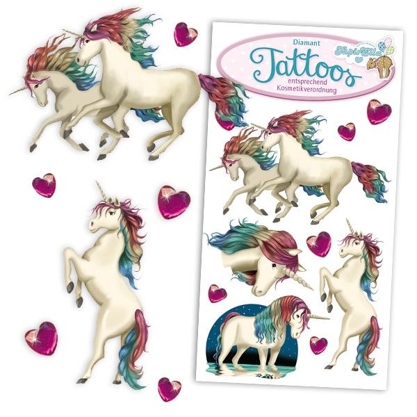 Einhorn Tattoos mit Strasssteinchen, Mitgebsel für Einhornfans, 1 Karte
