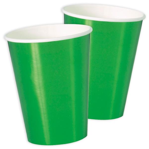 Maxi-Becher, metallic grün, 8er Pack