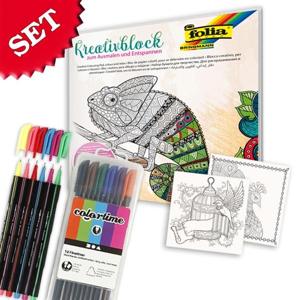 Kreativ-Malset mit tollem Malbuch (40 Motive) +12 Colortime-Fineliner
