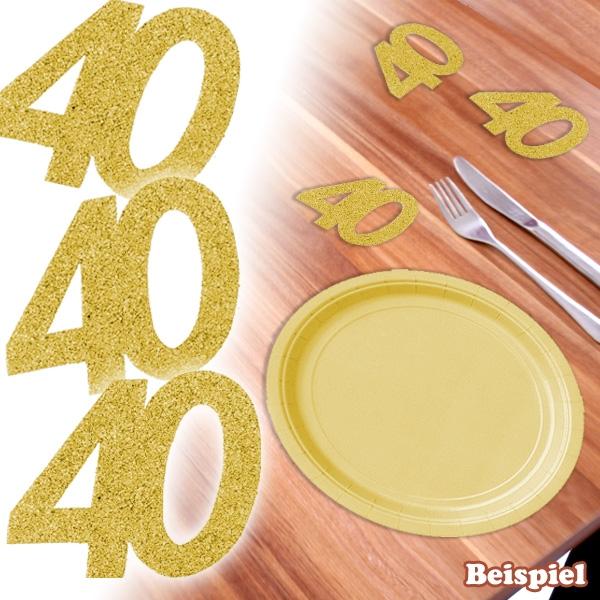 goldene Glitterzahl 40, glitzernde Zahlendeko 40. Geburtstag, 6 Stück