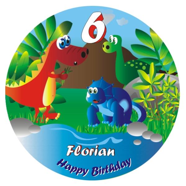 Dino-Bild für Geburtstagstorte mit Name und Alter – rund
