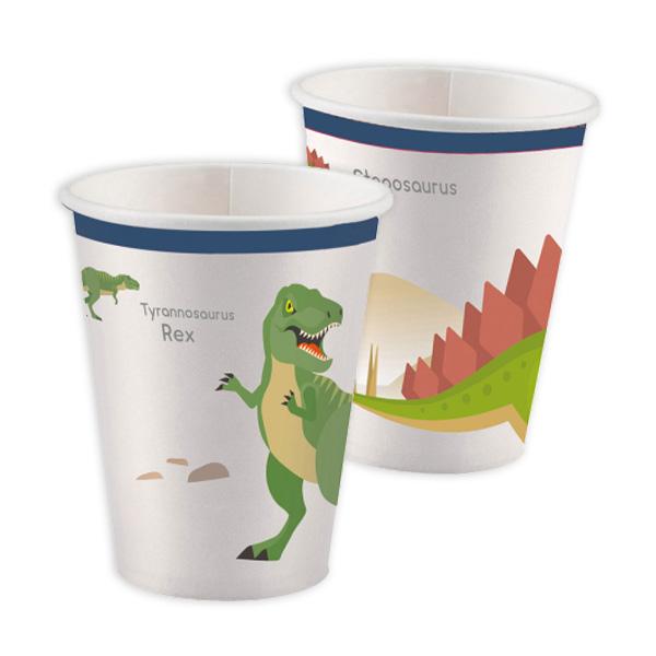 Partybecher mit Dinosauriermotiv, 8er Pack, 250ml