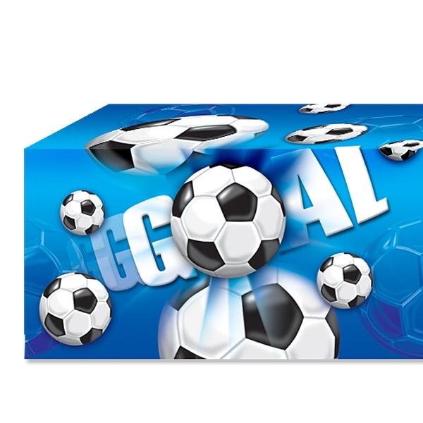 """Fußball-Tischdecke blau """"GOAL"""" mit Fußbällen, 1,2×1,8m, PVC-Folie"""