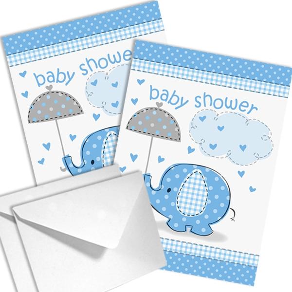 Baby Elefant Einladungen blau, 8 Stück mit Aufdruck BABY SHOWER