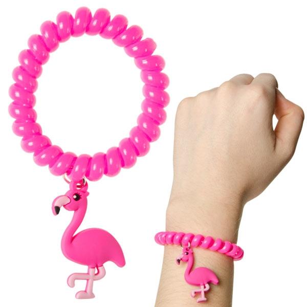 Flamingo Armband pink, 1 Stück rosa Spiralarmband für Mädchen, Gummi