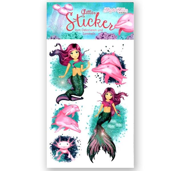 Glitzer Aufkleber Meerjungfrau, 1 Stickerkarte