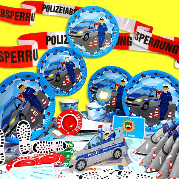 Polizei Party Komplett-Set XXL, 89-teilig, für bis zu 6 Gäste