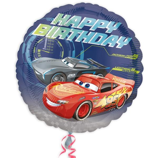 Cars 3 runder Folienballon für Carsparty mit Happy Birthday, 34cm