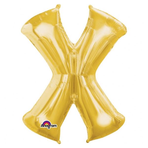 """Folienballon Buchstabe """"X"""" für goldene Namen in der Deko, 80 cm"""