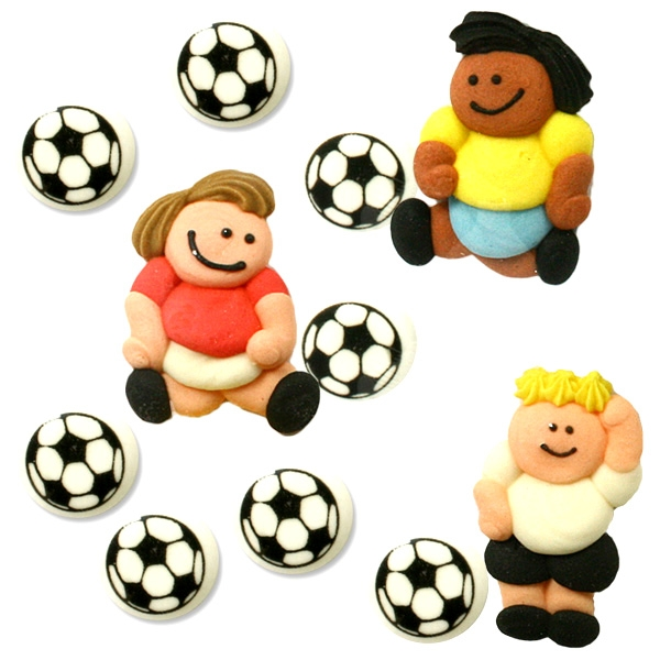 Fußbälle + Fußballspieler-  Zuckerfiguren für Torte, 11er Set, 2-4 cm