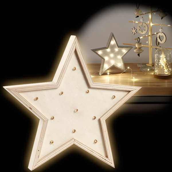 Weihnachts-Stern mit Lichtern, Holz, 26cm, toller Weihnachtsschmuck