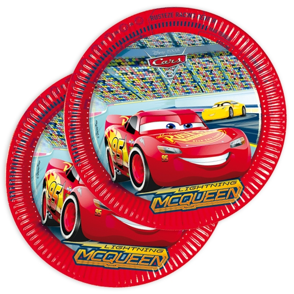 Cars 3 Partyteller aus Pappe im 8er Pack, Teller mit Rennwagen, 23cm