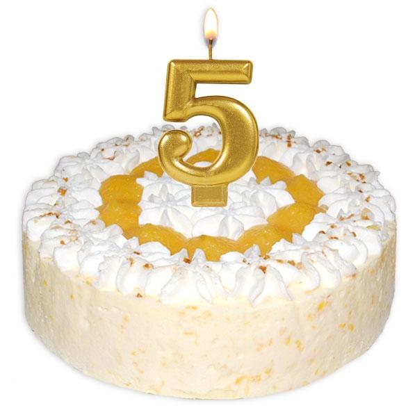 Zahlenkerze 5, große schimmernde Kerze in gold