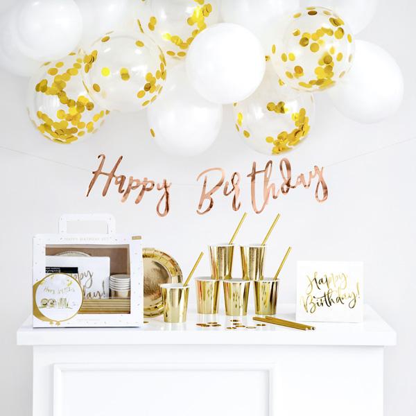 "Partydekoset ""Happy Bithday Gold"", 60-teilig"